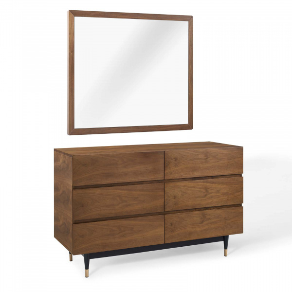 MOD-6291-WAL-SET Caima 2 Piece Bedroom Set Walnut