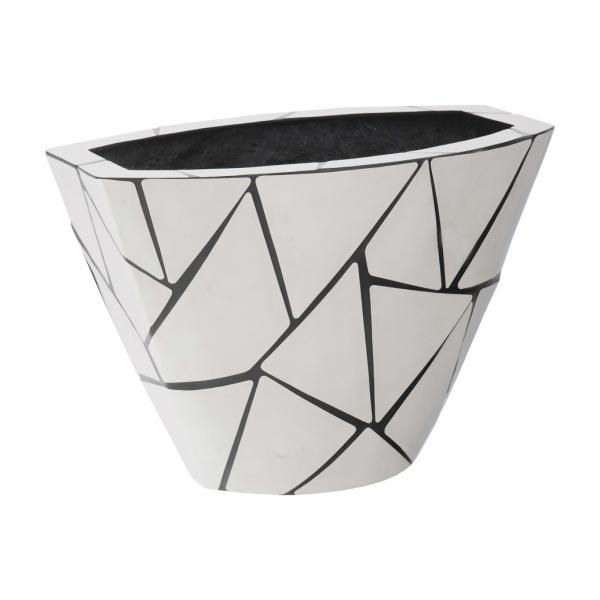 PH100870 Triangle Crazy Cut Planter, Small, Stainless Steel