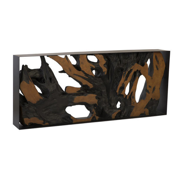 PH86296 Cast Root Console Table, Iron Frame, Resin, Brown