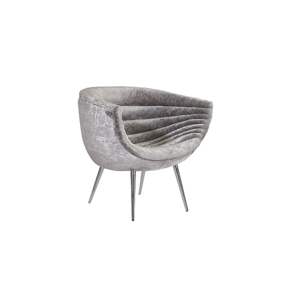 PH99963 Nouveau Club Chair, Grey Crushed Velvet Fabric, Stainless Steel Legs