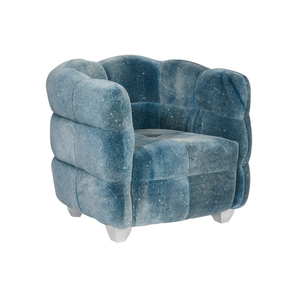 PH99964 Cloud Club Chair, Distressed Blue Fabric, Stainless Steel Legs