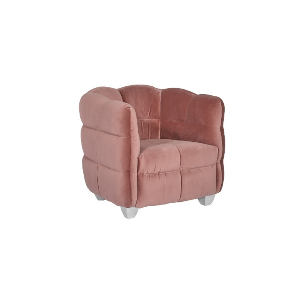 PH99965 Cloud Club Chair, Coral Pink Fabric, Stainless Steel Legs