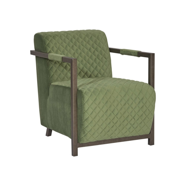 PH99967 Amity Club Chair, Quilted Green Fabric, Industrial Silver Metal Frame