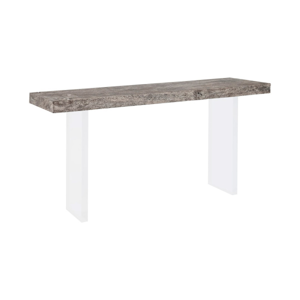 TH100570 Floating Chamcha Wood Console Table, Grey Stone Finish, Acrylic Legs