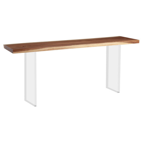 TH101689 Floating Chamcha Wood Console Table, Acrylic Legs