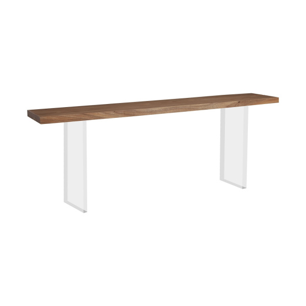 TH101690 Floating Chamcha Wood Console Table, Acrylic Legs
