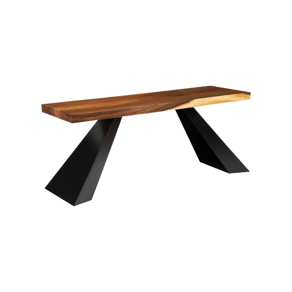 TH103470 Chamcha Wood Console, Black Metal Tapered Legs