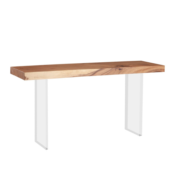 TH77243 Floating Chamcha Wood Console Table, Acrylic Legs
