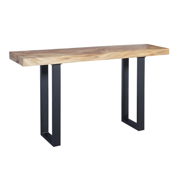 TH93211 Chamcha Wood Console Table, Metal U Legs, Matte, Black