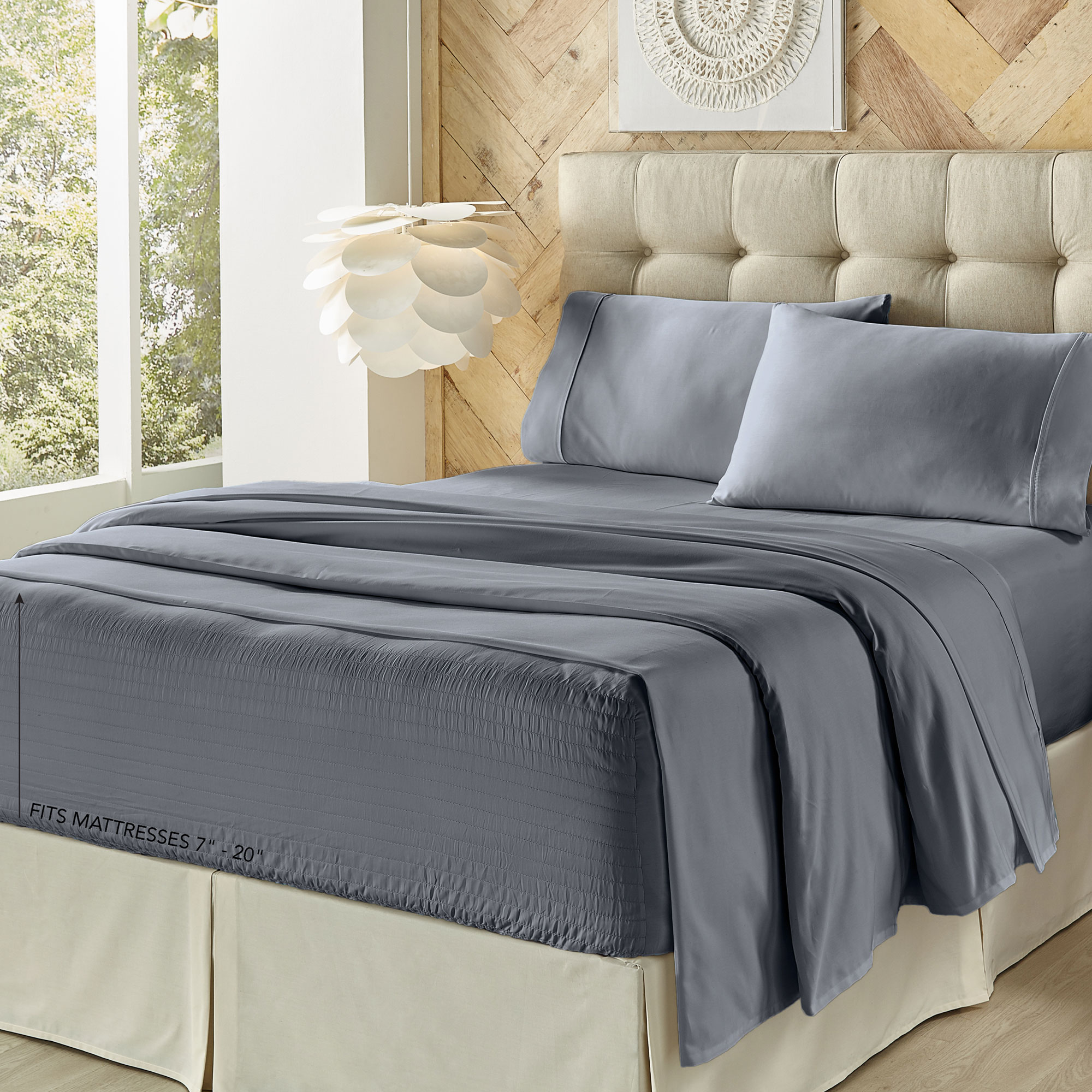 Royal Fit 500 Tc Cvc Slate Blue Queen Sheet Set