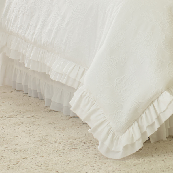 Emily White Queen Bedskirt