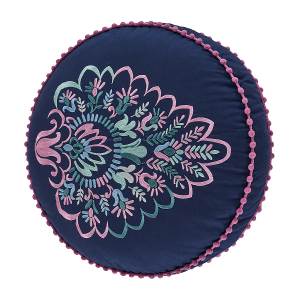 Kayani Indigo Round Pillow