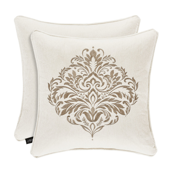 "Milano Sand 20"" Square Embroidered Pillow"