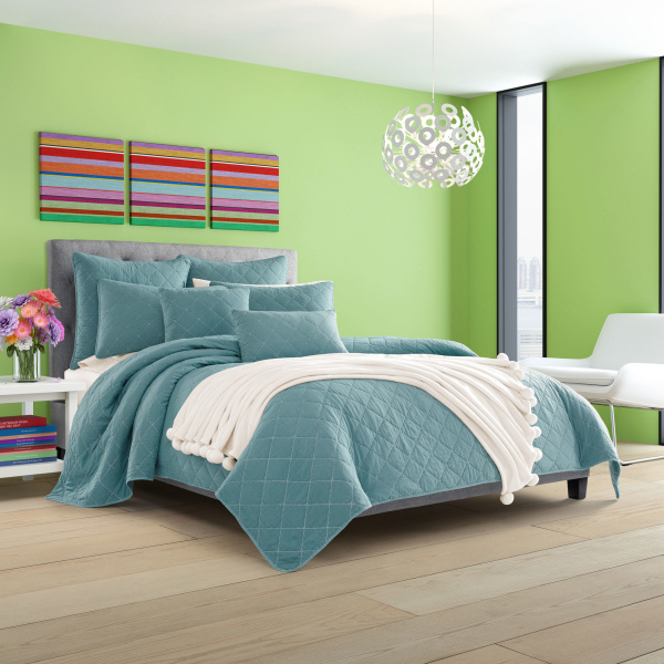 Oakland Teal Twin Coverlet
