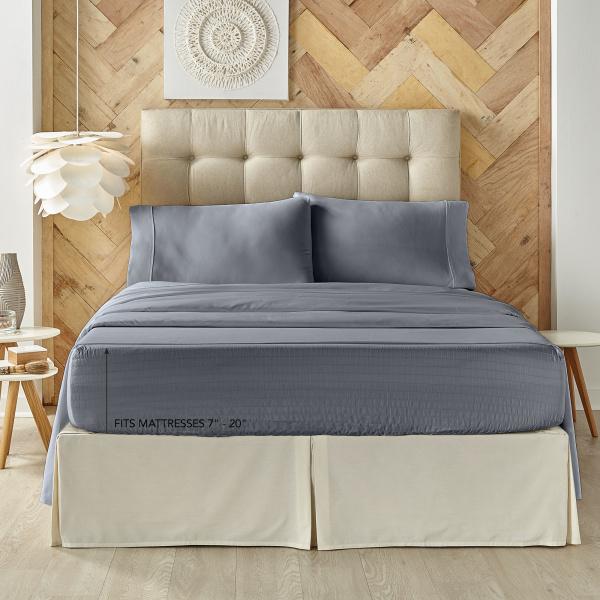 Royal Fit 500 Tc Cvc Slate Blue Cal King Sheet Set