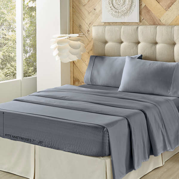 Royal Fit 500 Tc Cvc Slate Blue Full Sheet Set