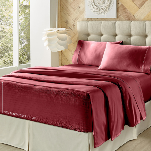 Royal Fit 300 Tc Burgundy Queen Sheet Set