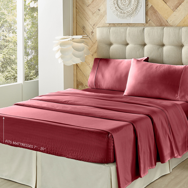 Royal Fit Burgundy Sheet Set 3