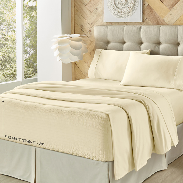 Royal Fit Microfiber Ivory King Sheet Set