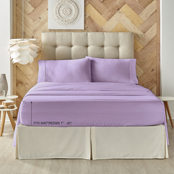Royal Fit Microfiber Lilac Sheet Set 1