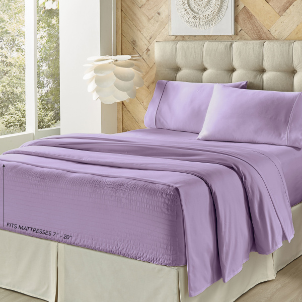Royal Fit Microfiber Lilac King Sheet Set