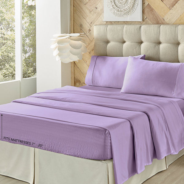 Royal Fit Microfiber Lilac Sheet Set 3