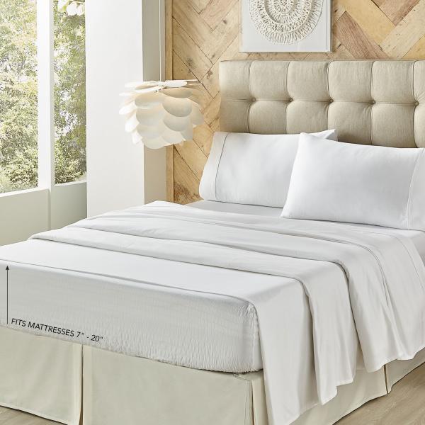 Royal Fit 500 Tc Cvc White Queen Sheet Set