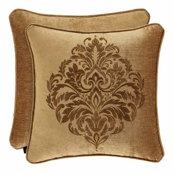 "Sicily Gold 20"" Square Embroidered Pillow"