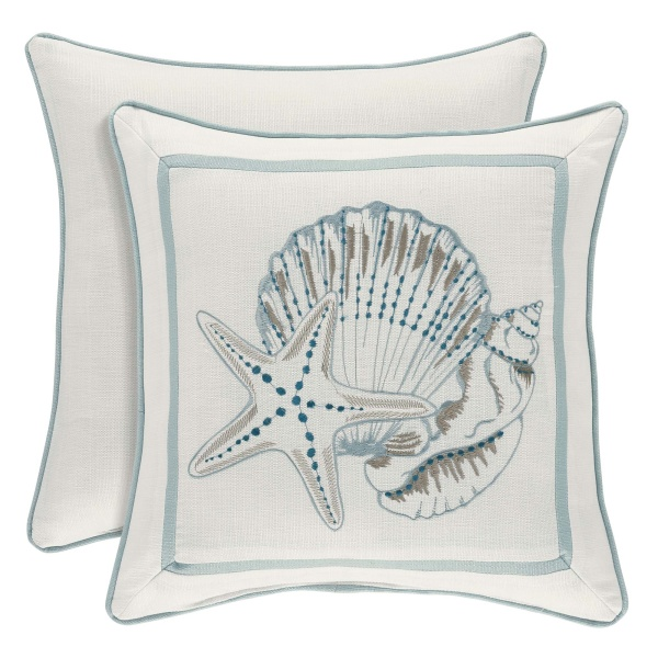 Water's Edge Aqua 18 Square Pillow