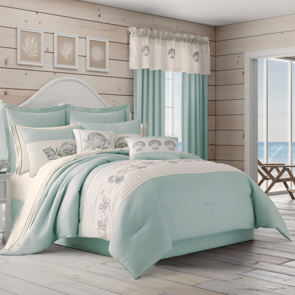 Water's Edge Aqua Full 4-Piece Comforter Set