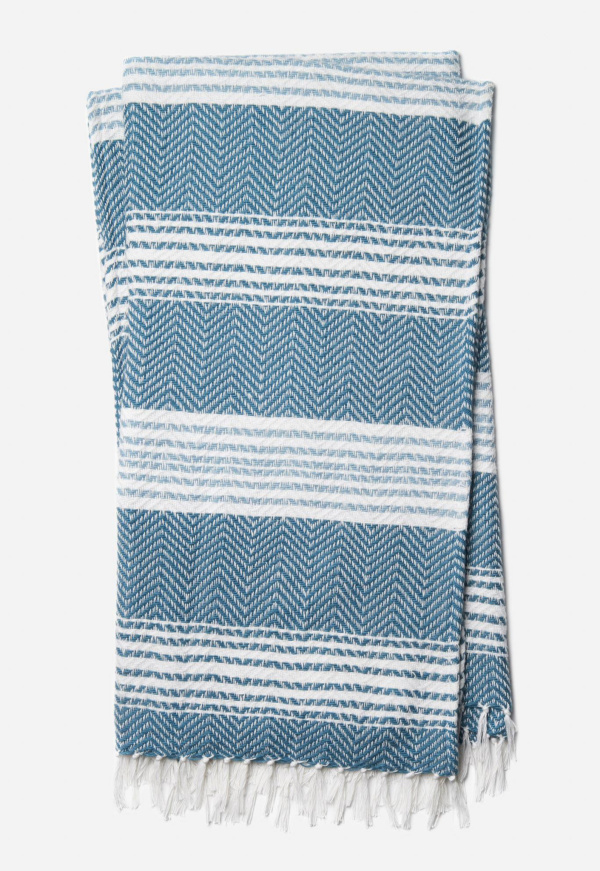 Wren Throw T0035 Blue White