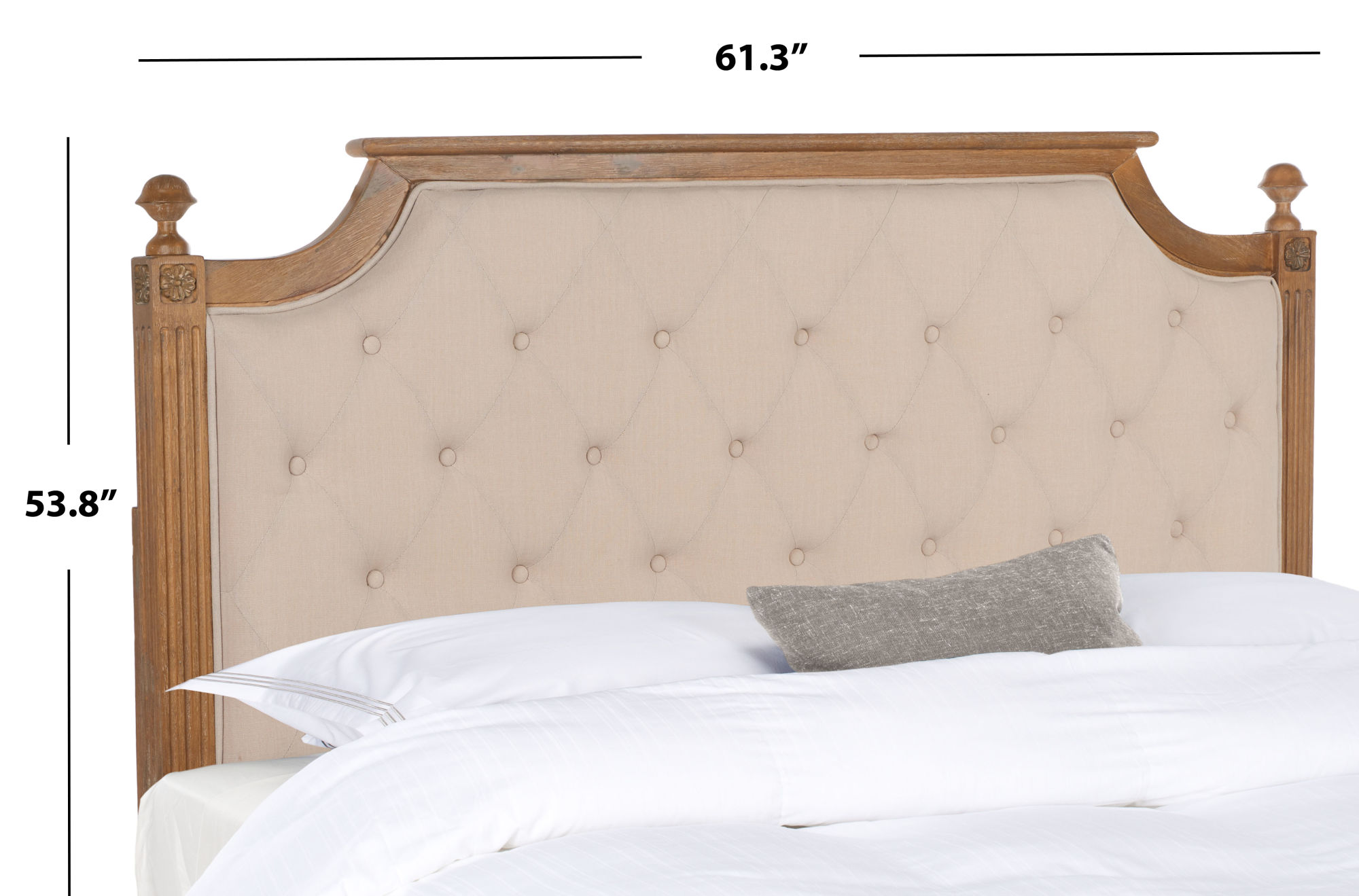 Rustic Wood Beige Tufted Linen Headboard