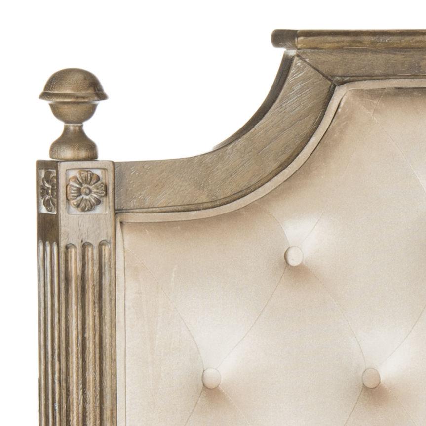 Rustic Wood Beige Tufted Velvet Full Headboard