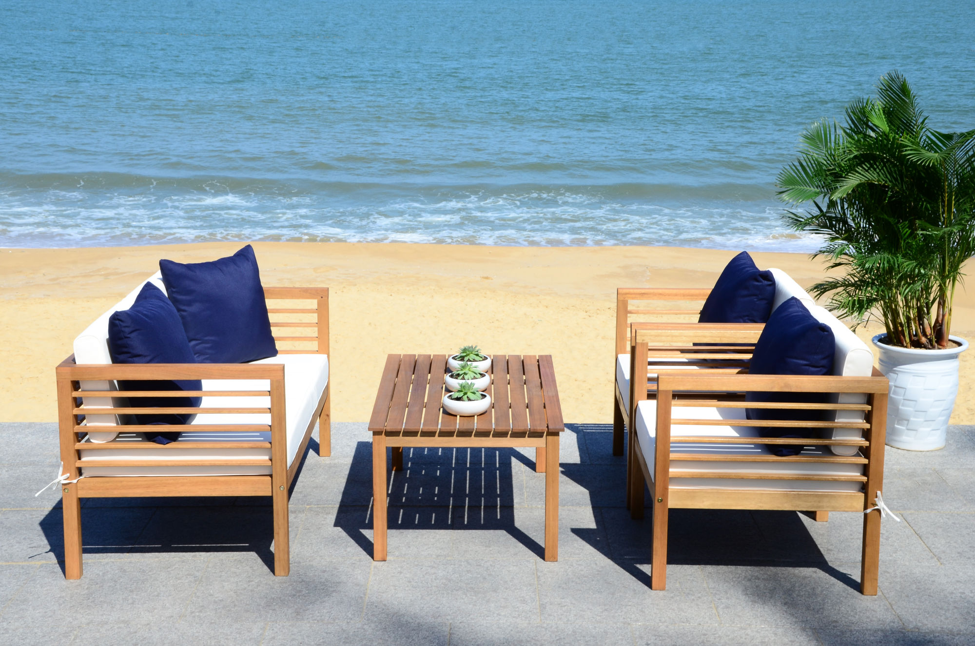Alda 4 Pc Outdoor Set With Accent Pillows on Safavieh Alda 4Pc Outdoor Set id=23869