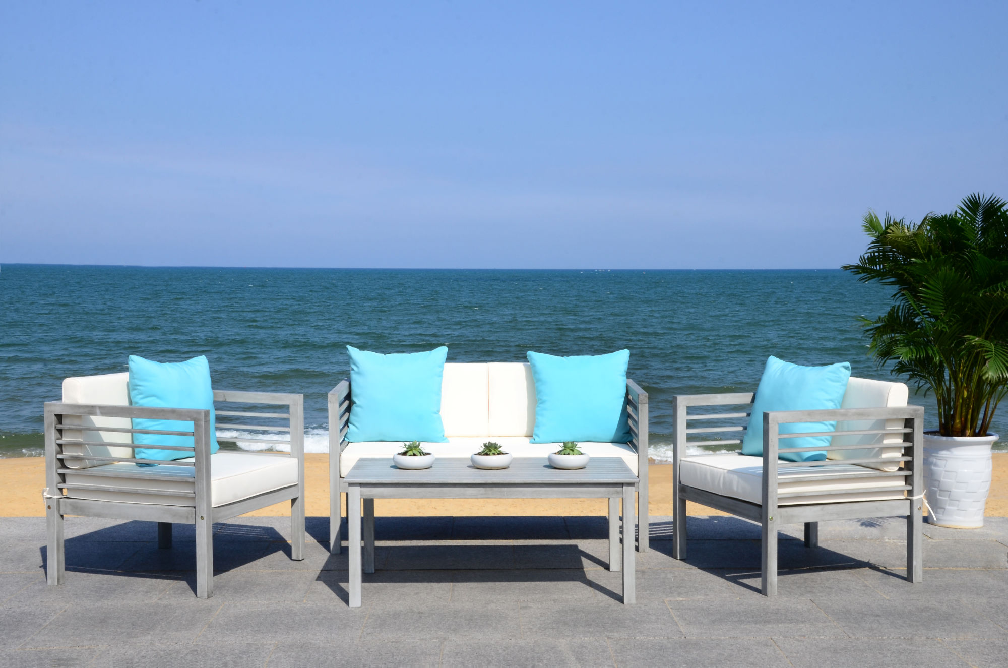 Alda 4 Pc Outdoor Set With Accent Pillows on Safavieh Alda 4Pc Outdoor Set id=41520