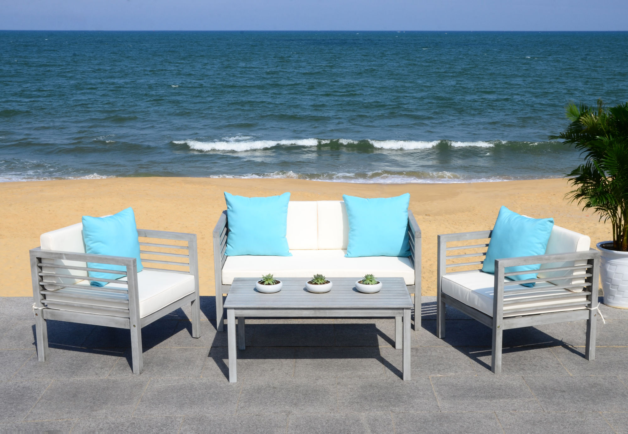 Alda 4 Pc Outdoor Set With Accent Pillows on Safavieh Alda 4Pc Outdoor Set id=46265