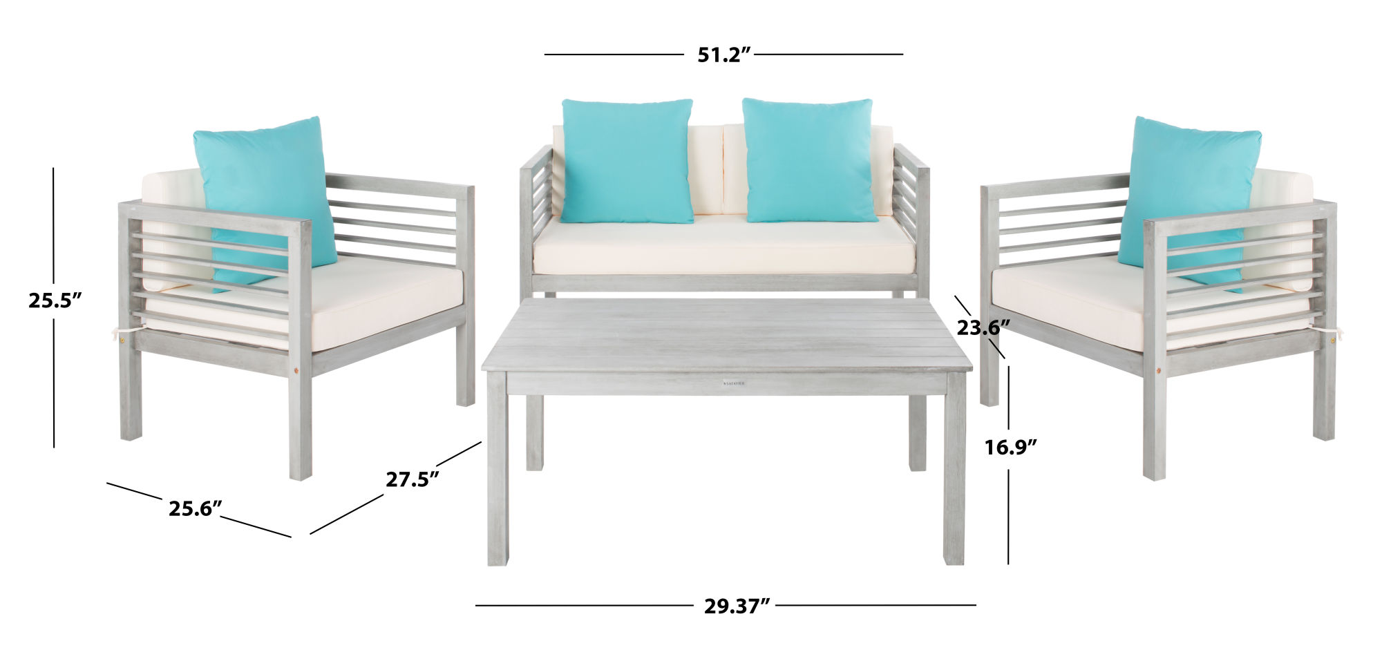 Alda 4 Pc Outdoor Set With Accent Pillows on Safavieh Alda 4Pc Outdoor Set id=21143