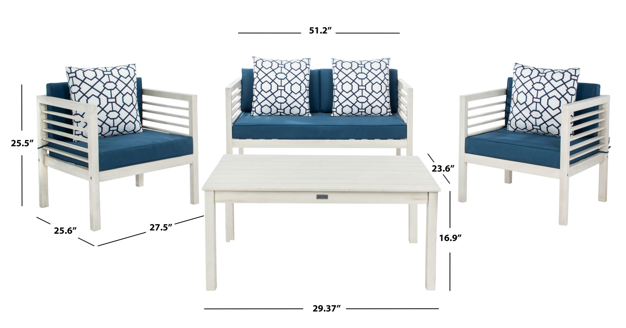 Alda 4 Pc Outdoor Set With Accent Pillows on Safavieh Alda 4Pc Outdoor Set id=60674