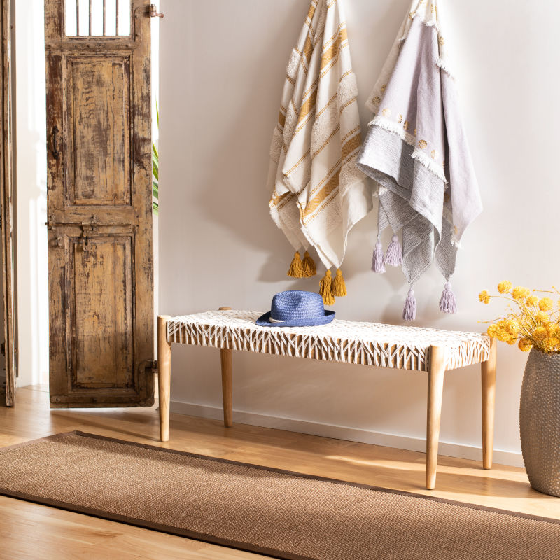 BCH1000A Bandelier Leather Weave Bench