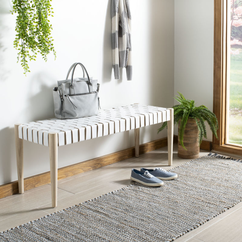 BCH1001B Amalia Leather Weave Bench