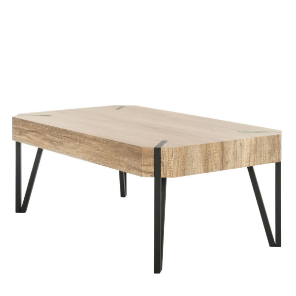 COF7003A Liann Rustic Midcentury Wood Top Coffee Table