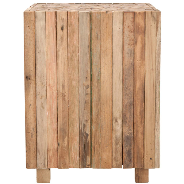 FOX1001A Richmond Rustic Wood Block Round Square End Table