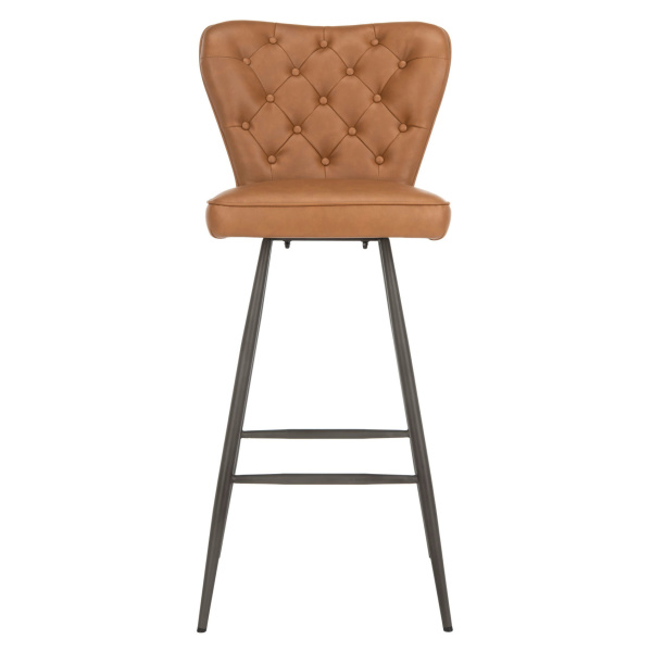 "Aster 30""H Mid Century Modern Leather Tufted Bar Stools (Set of 2)"