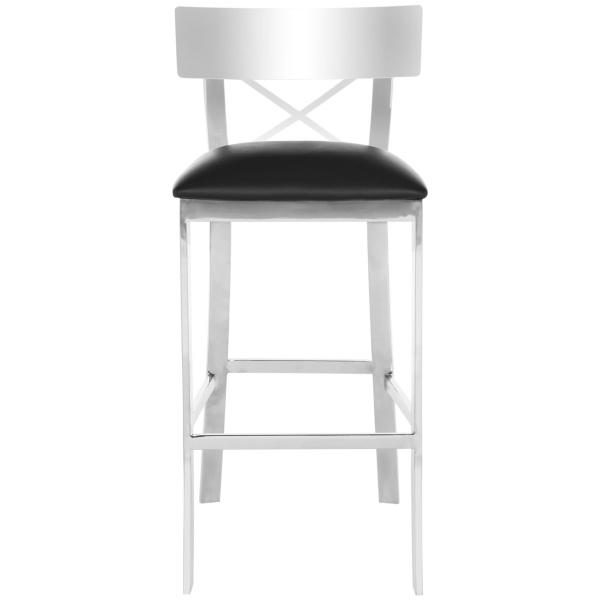 Zoey 39''h Stainless Steel Cross Back Bar Stool
