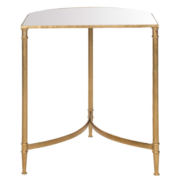 FOX2532A Nevin Mirror Top Gold Accent Table