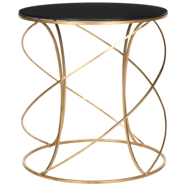 FOX2535B Cagney Glass Top Round Accent Table