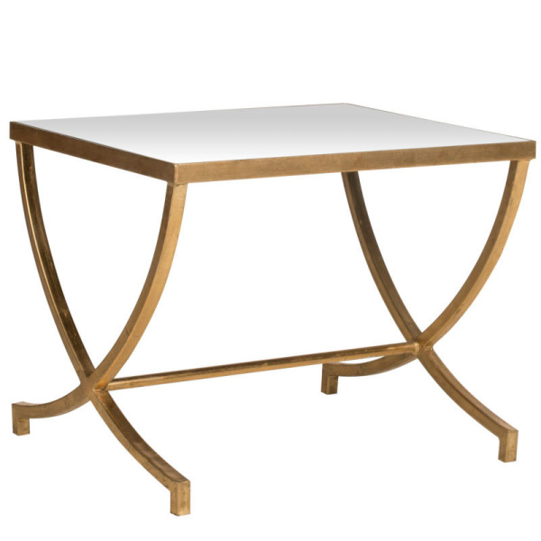 FOX2537A Maureen Glass Top Gold Leaf Accent Table