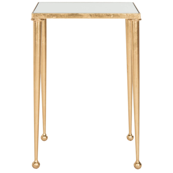 FOX2579A Nyacko Mirror Top Gold Leaf End Table