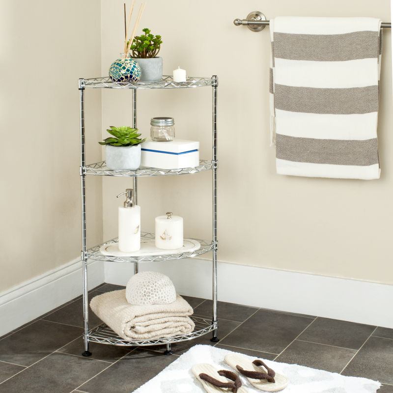 Damaris 4 Tier Chrome Wire Corner Rack