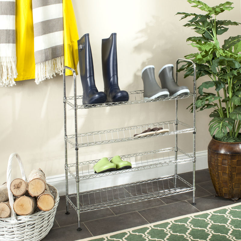 Lidia Chrome Adjustable Shoe Rack
